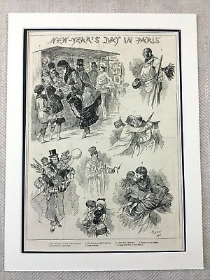 1882 Paris France New Years Day French Victorian Cartoon Original Antique Print