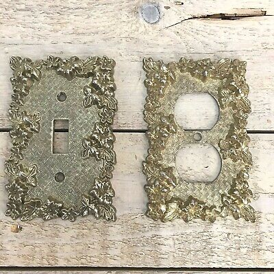VINTAGE 1967 Switch Plate Outlet Cover American Tack & Howe Metal Brass Color
