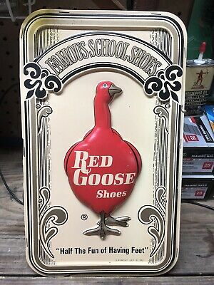 "Vintage Red Goose Shoes Sign Display ""Famous School Shoes"" Embossed Sign"