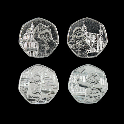 2018 & 2019 New Uncirculated Paddington Bear Full Set Four 50p Fifty Pence Coins