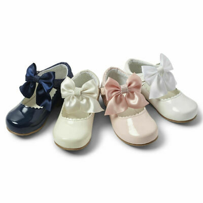 New Girls Sevva Patent Shoes With Bow Spanish Mary Jane Style Occasion Shoes
