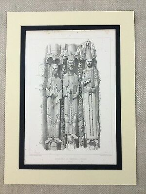 1857 Antique Architectural Print French Gothic Carved Religious Statue
