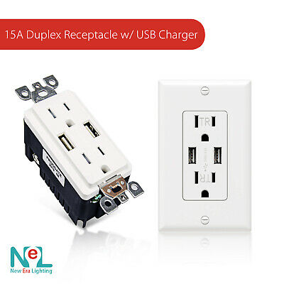 NEW ERA 15A Duplex Tamper Resistant Receptacle with Dual USB Charger