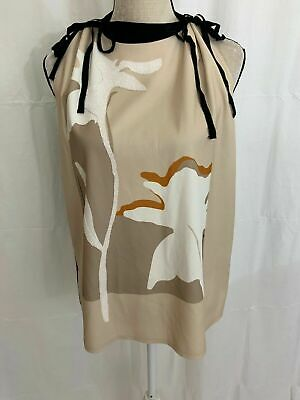 Zara WB Collection Womens Beige Black White Beaded Floral Tank Top Blouse Large