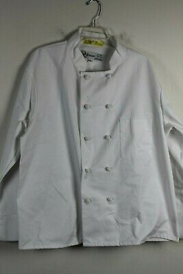 Regent Chef Coat Cloth Knot Buttons Long Sleeve White Size Large