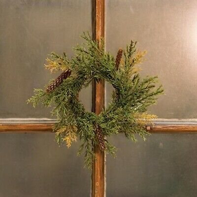 """Primitive Country PRICKLY PINE WREATH CANDLE RING 6"""" PInecones Christmas"""