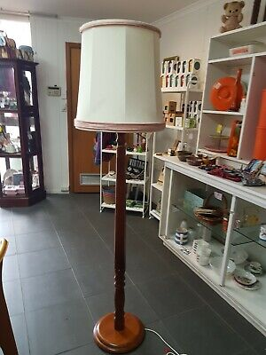 Lovely Vintage Retro Timber Standard Floor Lamp with Ivory & Pink  Shade