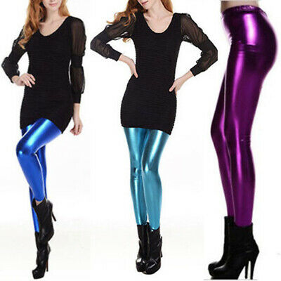 HOT Women High Waist Stretchy Skinny Leggings Wet Look PVC Faux Leather Pants