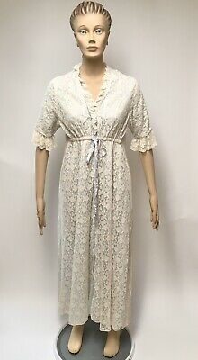 Lace Peignoir Robe Blue Ivory Fashions By Marilyn Housecoat Vintage Lingerie S