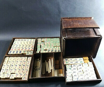 VTG Mahjong Set Bamboo & Bone Tiles & Wood Box Chinese Antique Game