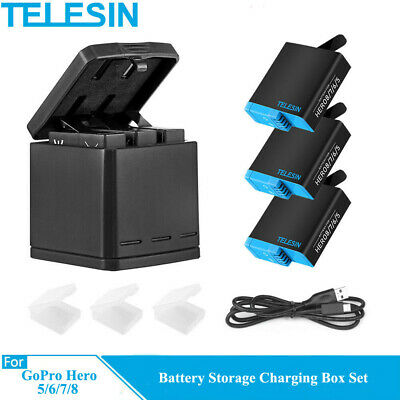 TELESIN 3Way Battery Charger Charging Box  3 Battery Pack for GoPro Hero 8 7 6 5