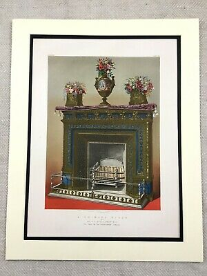 1862 Print Coalbrookdale Vases Cast Iron Fireplace Antique Chromolithograph