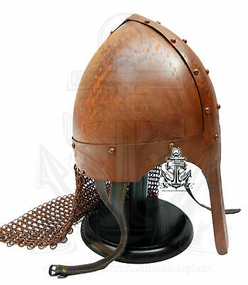 Medieval Viking Nasal Helmet Chainmail Hand Forged Rusted Antique Armor Helmet