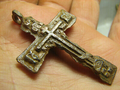 Rare.prayer. Authentic ! Big.relief! Late Medieval Bronze Cross Pendant #1343
