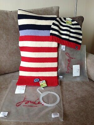 Joules Knitted Hat And Scarf Set New With Tags