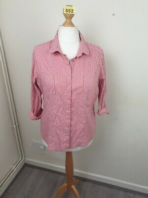 Women's Pink And White Striped Button Up Blouse From Next Size 20