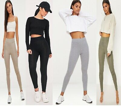 New Womens Girls Ladies High Waisted Jersey Viscose Fabric Legging 8-14