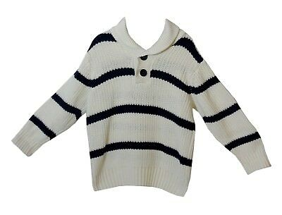 Boys H&M White Dark Blue Stripe Chunky Knit Collared Jumper Age 3-4 Years