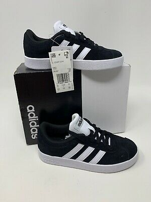 NEW NIB ADIDAS VL COURT 2.0 K Kids SNEAKERS Black White DB1827 Size 12 K