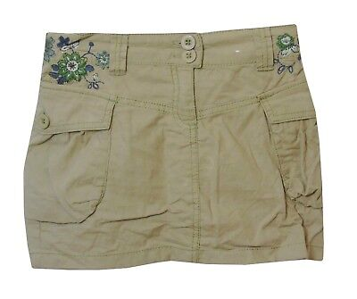 Girls Next Beige Linen Blend Pretty Floral Embroidered Cargo Skirt Age 7 Years