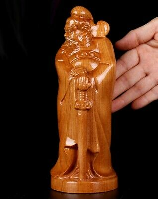 """8.5"""" Chinese Peach Wood Carved Ghost Buster Exorcism Zhong Kui Statue Feng Shui"""