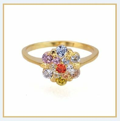 Ring in Yellow Gold and Stones Cubic Zirconia in Colours of the Rainbow