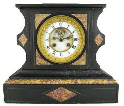 RARE antique L Marti et c BLACK SLATE MARBLE French Mantel clock OPEN ESCAPEMENT