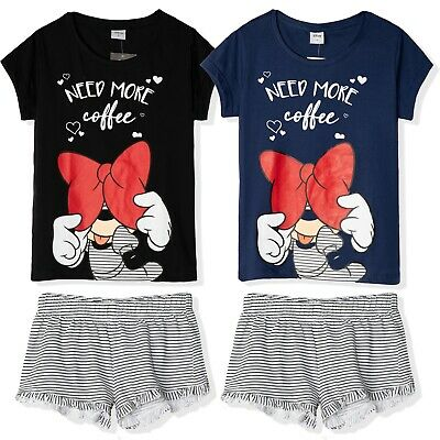 Disney Minnie Mouse 100% Cotton T-Shirt Shorts Pyjamas pjs Set Womens Teenagers