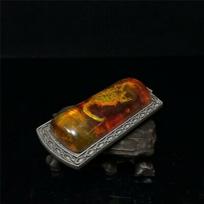 "3.54"" Chinese Exquisite natural amber Handmade Scorpion Amulet Pendant"
