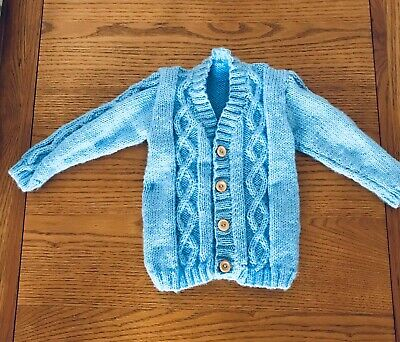 New hand knitted boys pale blue cardigan size 12-18 Months