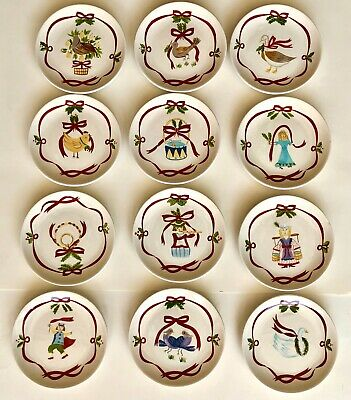 "222 Fifth Twelve Days of Christmas Ribbon 6.5"" Dessert Plate Complete Set of 12"
