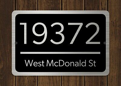 """Customized Home Address Plaque Silver Text Metal 12"""" x 8"""" House Number Sign"""