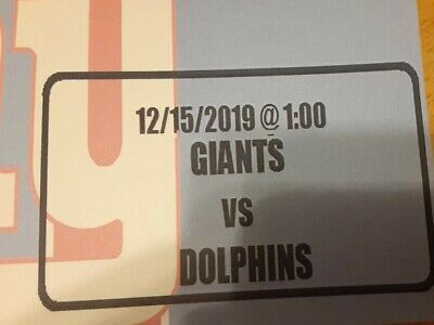 3 Tickets Miami Dolphins @ New York Giants 12/15/19 East Rutherford, NJ