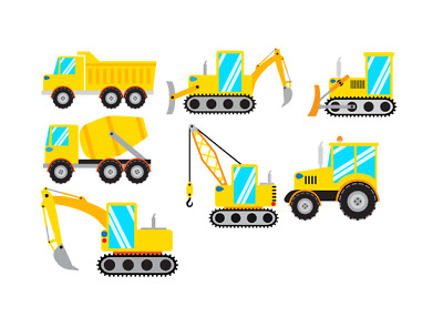 Construction vehicles iron on transfer excavator bulldozer backhoe crane tractor