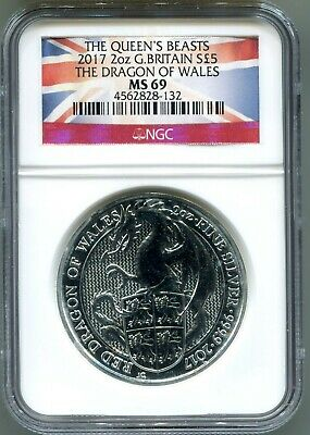 2017 Great Britain £5 2 oz. Silver Queen's Beast Dragon of Wales NGC MS69 (132)