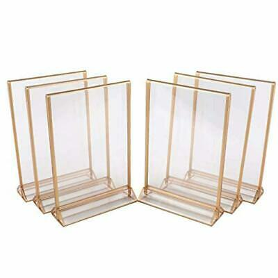"6 Pack Acrylic Sign Holders, Double Sided Picture Frames,8 1/2"" x 11"" Gold"