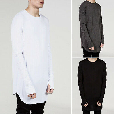 Fashion Men Slim Fit Crew Neck Long Sleeve Loose Tee T-shirt Casual Tops Blouse
