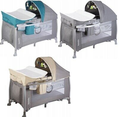 Lionelo Simon Travel Cot Baby Bed Canopy Folding Changing Unit Carousel Playpen