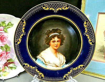 Royal Vienna Beehive Gold beaded  Porcelain Portrait Cabinet plate artist signed