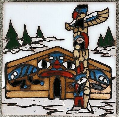 Pacific Northwest & Alaska Native Hand Painted Totem Tile/Trivet Mag Mor Studios