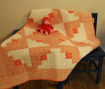 Handmade, baby, toddler, quilt, blanket, peach, quilted, gift, homemade, Nursery