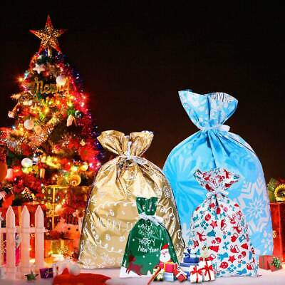 30PCS Christmas Gift Drawstring Bags Assorted Styles Wrapping XMAS Goody Bags