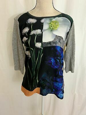 Zara WB Collection Womens Black Gray White Floral Long Sleeve Top T Shirt Large