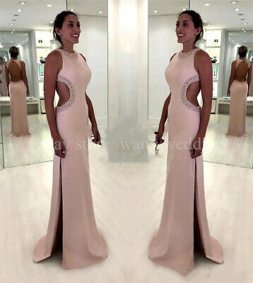Sexy Backless Plus Size Mermaid Prom Dresses Cutaway Sides Sequined Beaded Gowns