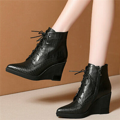 Women's Cow Leather Wedges High Heel Ankle Boots Lace Up Pointed Toe Pumps Shoes