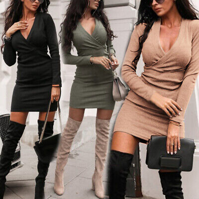 Women Sexy V-Neck Long Sleeve Slim Dress Bodycon Winter Knitted Sweater Party