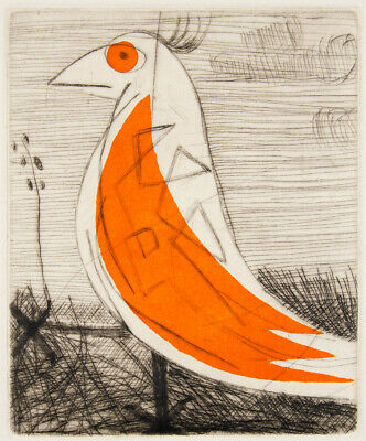 Mark SCHALLER 'Orange Sparrow' ORIGINAL limited edition etching, signed