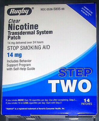 Rugby Clear Nicotine Transdermal System Patch Step 2 Stop Smoking Aid 14mg/14ct
