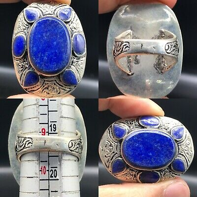 Antique Beautiful  lapis lazuli Seal Stunning Silver Ring