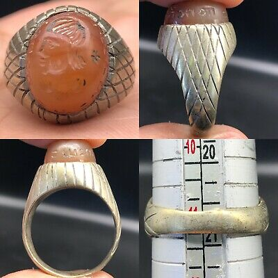 Silver Sassanian Ancient Carnelian Seal face intaglio Stone Ring